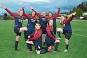 Melanie Thalmann, Bernadette Hangartner, Diana Brändle, Nadja Beerli und Nicole Hollenstein (oben, von links) sowie Corinna Hasler und Natascha Salzmann (unten, von links) waren bereits bei den zwei Cupsiegen 2015 und 2016 dabei. (Bild: Beat Lanzendorfer)