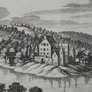 Das Schloss Mauensee im 17. Jahrhundert. Kupferstich von Caspar Merian. (Bild: Privatbesitz Franz Peter/ Mauensee)