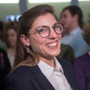 Franziska Ryser (Grüne) freut sich über ihre Wahl in den Nationalrat, im Pfalzkeller in St. Gallen. (Bild: Benjamin Manser)