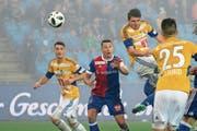 Basler im FCL-Dress: Pascal Schürpf (Zweiter von rechts) erzielt den Ausgleich. | Bild: Martin Meienberger/Freshfocus (Basel, 19. Mai 2018)