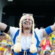 So geht Freude: Ein schwedischer Fan an der WM 2018 in Russland. (Foto: EPA/FRANCK ROBICHON)