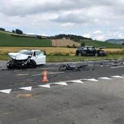 Die Unfallstelle in Gunzwil. (Bild: Luzerner Polizei)