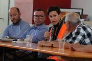 Sie diskutierten über die Zukunft der Bergstrecke (von links): Maurus Stöckli, Christian Raab, Daria Martinoni und Frank Zimmermann. (Bild: Urs Hanhart, Erstfeld, 29. Juni 2019)