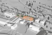 Die Visualisierung zeigt, wie sich das neue Ladenlokal ins Dorf einfügen soll. (Bild: Schällibaum AG Herisau, Bildbearbeitung: mar)