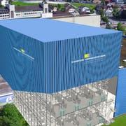 Visualisierung des geplanten Hochregallagers der Businesspark Aentlebuch AG (Mitte). (Bild: PD)