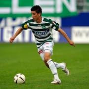 St. Gallens Moreno Costanzo beim ersten Meisterschaftsspiel in der AFG Arena, die heute Kybunpark heisst. (Bild: Urs Jaudas/Juni 2008)