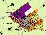 Der geplante Gewerbebau käme am rechten Ende des Gebiets Geren zu stehen (rechts oben, vollflächig violett). (Bild: Geoportal)