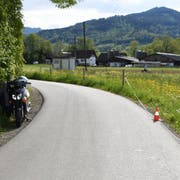 Beim Unfall hat der angetrunkene Rollerfahrer einen Pfahl am Strassenrand «gefällt». (Bild Kantonspolizei)