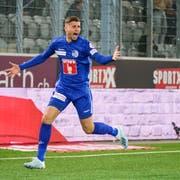 FCL-Jungprofi Darian Males jubelt nach seiner Torpremiere gegen den FC Thun. (Bild: Martin Meienberger/freshfocus (Thun, 5. Oktober 2019))