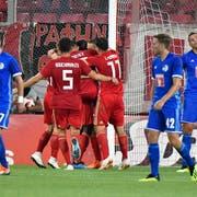 Gegen Olympiakos Piräus hatte der FC Luzern in der Europa-League-Qualifikation im Vorjahr deutlich das Nachsehen. (Bild: Martin Meienberger/Freshfocus (Piräus, 09. August 2018)