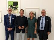 Roman Fust (Geschäftsführer Würth Finance) begrüsste den Vizepräsidenten Thomas Oppermann mit Barbara Rohner, Leiterin des Forum Würth und Stadtpräsident Thomas Müller. (Bild: PD)