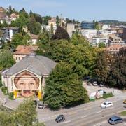 Blick ins Areal für den neuen HSG-Campus am St.Galler Platztor. Im Vordergrund der Untere Graben, links die Böcklin- und rechts die St.Jakob-Strasse. (Bild: Urs Bucher - 28. August 2018)