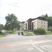 Die Visualisierung zeigt, wie die drei Mehrfamilienhäuser an der Hofstattstrasse aussehen sollen. (Bild: PD)