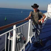 Maurice Grob auf der Überfahrt nach Dänemark. (Bild: PD)