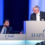 CEO Hassan Kadbi (links) und VR-Präsident Giatgen Peder Fontana in der Waldmannhalle in Baar. (Bild: Pius Amrein (26. April 2019))