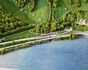 Modell des Portalbereich des (bestehenden) Umfahrungstunnels Lungern. Auf dem Modell ist seeseitig die heutige Kantonsstrasse A8, oberhalb die im Rahmen des Projektes neu zu erstellende Verbindungsstrasse zwischen dem Kaiserstuhltunnel und dem (bestehenden) Umfahrungstunnel Lungern zu sehen. (Bild: PD)