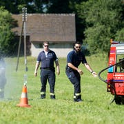 Die FFZ probt den Ernstfall am Esaf. Impressionen.Namen beim Journalisten !(Bild: Maria Schmid, Zug, 29. Juni 2019 )Feuerwehr,
