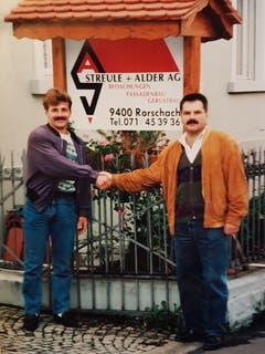 Karl Streule und Heinz Alder bei der Gründung der Streule + Alder AG im Jahr 1993.