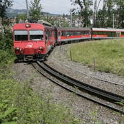 25. Juni 2007: Ein Zug der Appenzeller Bahnen in der Ruckhaldekurve. (Bild: Hannes Thalmann)