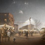 Visualisierung des geplanten Dorfplatzes in Entlebuch. Bild: PD