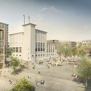 Die Cham Group entwickelt auf ihrem ehemaligen Fabrikgelände im Zentrum von Cham ein neues Quartier mit rund 1000 Wohnungen und 1000 Arbeitsplätzen. (Visualisierung: PD)