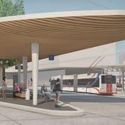 So soll der Bushub am Bahnhof Ebikon dereinst aussehen. Visualisierung: PD