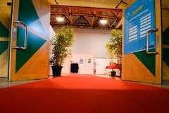 Ein roter Teppich führt in den Arboner Seeparksaal - und damit in den Backstage-Bereich. (Bilder: Donato Caspari)