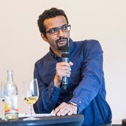Brahim Aakti (SP) beim Podium der Gemeinderatskandidaten in Emmen. (Bild: Manuela Jans-Koch, 24. Mai 2018)
