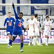 Jubel bei Luzerns Ibrahima Ndiaye nach dem Tor zum 1:2 gegen Servette. (Bild: KEYSTONE/Alexandra Wey, Luzern, 9. November 2019)