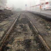 Das alte Tramgleis in der Teufener Strasse. Es blieb nach Einstellung des Betriebs 1950 im Boden und wurde im Laufe der Jahre mit mehreren Asphaltschichten zugedeckt. (Bilder: Reto Voneschen - 31. Oktober 2019)
