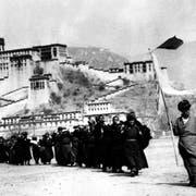 Eine Gruppe Tibeter aus dem Potala-Palast in Lhasa, dem Sitz des Dalai Lama, ergibt sich im Mai 1959 den chinesischen Truppen. Bild: Keystone)
