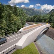 Die Sektion Uri des VCS fordert Tempo 60 auf der geplanten West-Ost-Verbindung. (WOV-Brücke über den Schächen. (Visualisierung: Baudirektion Uri)