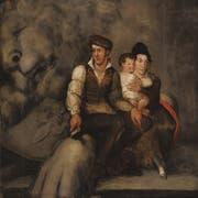 In Arbeitskluft: «Der Bildhauer und seine Familie, samt seinem von ihm verfertigten kollossalischen Löwen», 1821. (Bildausschnitt: Josef Reinhard/Kunstmuseum Luzern)