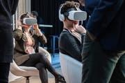 Eintauchen in virtuelle Welten am Start Summit 2019 in St.Gallen. (Bild: Urs Bucher)