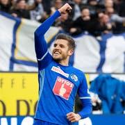 Lässt sich feiern: Pascal Schürpf, der strahlende 1:0-Torschütze gegen St. Gallen. (Bild: Alexandra Wey/Keystone (Luzern, 10. März 2019))