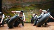 Das Bergrennen der Sportfit-Riege; einer von vielen Höhepunkten der Turnerunterhaltung. (Bild: Franz Steiner)