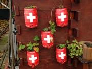 Wenn das ausgetrunkene Partybierfass zum dekorativen Wandschmuck wird. Gesehen im Familiengarten Blumenwies im Osten der Stadt St.Gallen. (Bild: Reto Voneschen - 4. November 2019)