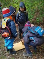 Kinder basteln eine Biberburg. (Bild: Claudia Deucher)