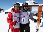 Im Ziel mit Startnummer 1 und 2: Josef Hess (rechts) und Donghua Li. (Bilder: Sepp Odermatt, Engelberg, 23. März 2019)