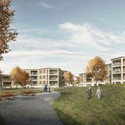 Die Visualisierung zeigt, wie die Überbauung der Wohnbaugenossenschaft Linde in Steckborn aussehen könnte. (Bild: PD)