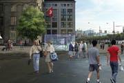 Keine Reisecars auf dem Schwanenplatz, nur der Eingang zur Metrostation – so sieht die Vision der Metro-Projekt-Initianten aus. (Visualisierung: PD)