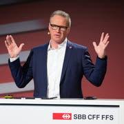 Andreas Meyer bei seinem Auftritt an der SBB-Bilanzmedienkonferenz von dieser Woche. (Bild: Peter Klaunzer, Keystone (19. März 2019))