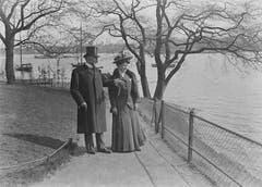 Carl Spitteler im Jahr 1908 mit Tochter Anna in Hamburg. (Bild: Nachlass Carl Spitteler, Schweizerisches Literaturarchiv, Bern)