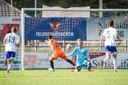 Nahuel Allou erzielt das 1:0 für Schötz. (Bild: Manuela Jans-Koch)