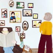 Der Umgang mit Enkeln und Stiefenkel verlangt von Grosseltern Fingerspitzengefühl. Illustration: Sabine Rufener