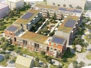 Blick aus Südwesten auf die geplante Überbauung «Feld Eins» im Quartier Feldbreite in Emmen. (Visualisierung: PD)