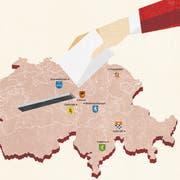 Schmiedrued, Stans, Dallenwil, Wolfenschiessen, Lohn, Calanca und Frauenfeld: sechs ungewöhnliche Wahlorte in der Schweiz. (Illustration: Rosina Mayer)