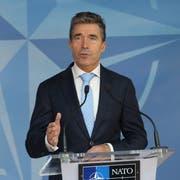 Anders Fogh Rasmussen zum Ende seiner Zeit als Nato-Generalsekretär. Bild: Olivier Hoslet/EPA (Brüssel, 3. Juni 2014)