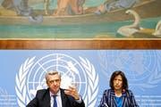 Das Uno-Flüchtlingswerk UNHCR (auf dem Foto UNO-Flüchtlingskommissar Filippo Grandi an einer Pressekonferenz in Genf) reagiert verhalten positiv auf den Plan der EU-Regierungschefs. (Bild: Keystone/Salvatore Di Nolfi)