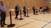 Christoph Forster, André Ess, Nicole Stäheli, Moderator Ueli Oswald, Christina Pagnoncini und Christoph Zürcher am Podium vergangene Woche. (Bild: Martina Eggenberger)